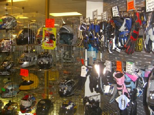 This is a picture of some of our huge range of helmets and clothing.